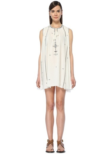 Etoile Isabel Marant Malya Etnik Nakışlı Mini Elbise Ekru